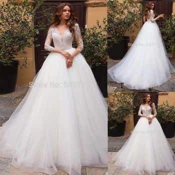 A Line Wedding Dresses Deep V Neck Long Sleeves Lace Applique Illusion Bridal Gowns Robe De Mariage 2019 Vestidos De Novia - Category 🛒 Weddings & Events