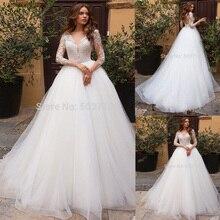A خط فساتين الزفاف بأكمام طويلة مثير الخامس الرقبة الدانتيل زين الوهم زي العرائس رداء دي ماريج 2020 Vestidos De Novia