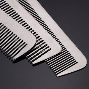 Image 3 - 3 Stijl Metalen Kam Detangling Hairstyling Rechttrekken Sectie Kam Kapper Haircutting Kammen Met Lederen Case Diy Thuis