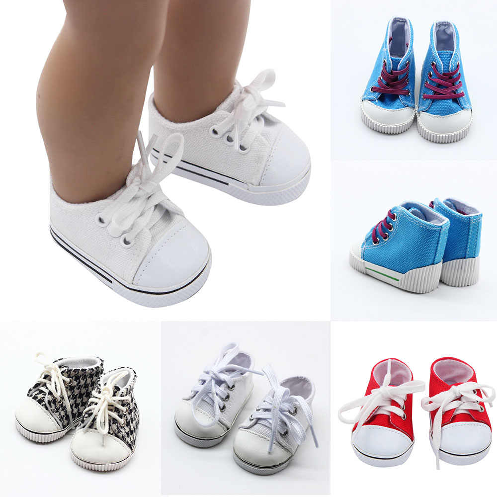 "New Arrival Canvas Lace Up Sneakers Black White Blue Shoes for 18"" Height Girl Dolls 43cm Born Baby Doll Shoes Doll Accessories"