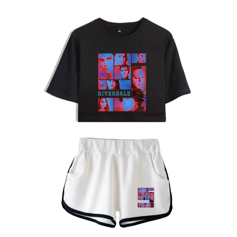 Riverdale Season 4 2 Piece Set Women Shorts Suit Ladies Tshirt Suit Summer Fashion Shirt And Shorts Kpop Trend Casual Clothes
