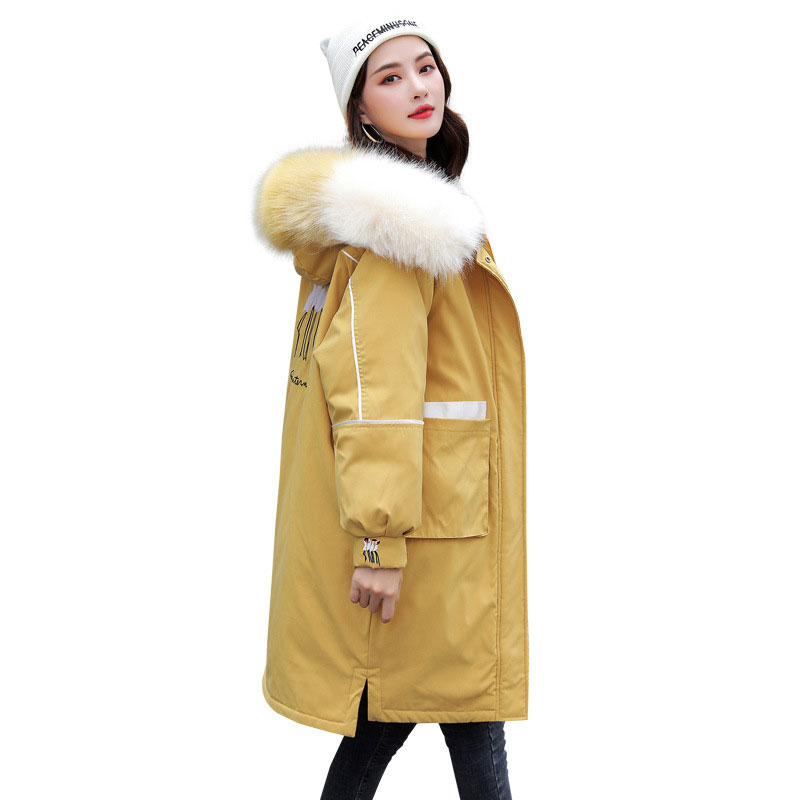 Women Colorful Fur Collar Long Hooded Oversize Winter Down Coat Thick Warm Jacket Cotton Padded Wadded Parkas Big Pocket