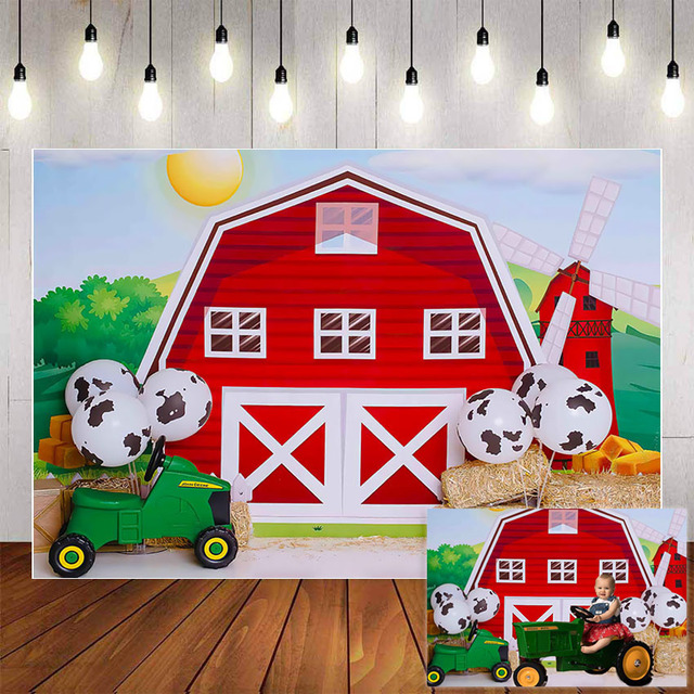 Mehofond Photography Background Farm Red Barn Rustic Animals Hay Baby Birthday Party Decor Portrait Backdrop Photo Studio Props