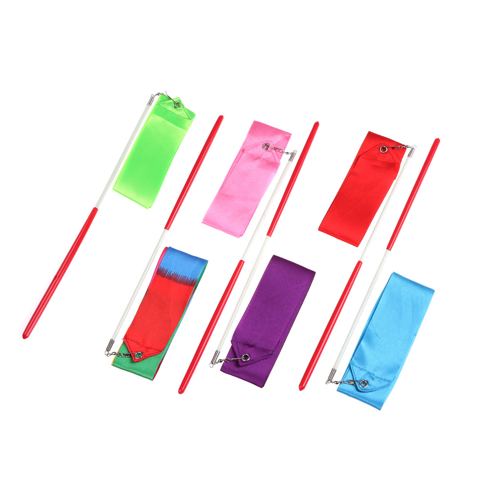 2M Colorful Gym Ribbons Dance Ribbon Rhythmic Art Gymnastic Ballet Streamer Twirling Rod Stick For Gym Training