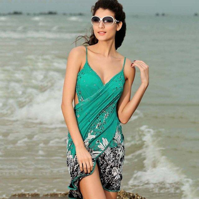 Women Sexy Backless Sling Dress Sleeveless V-Neck Floral Bikini Swim Suit Bathing Suits Swimwear Cover Up Ladies Beach Dress