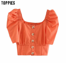 toppies summer short shirts sexy square collar button shirt