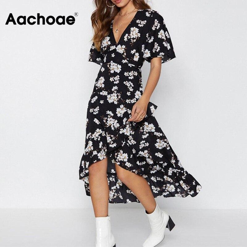 Aachoae Elegant Floral Print Long Dress 2020 Women Boho Style Beach Dress Fashion Ruffles V Neck Sundress Vestidos De Fiesta