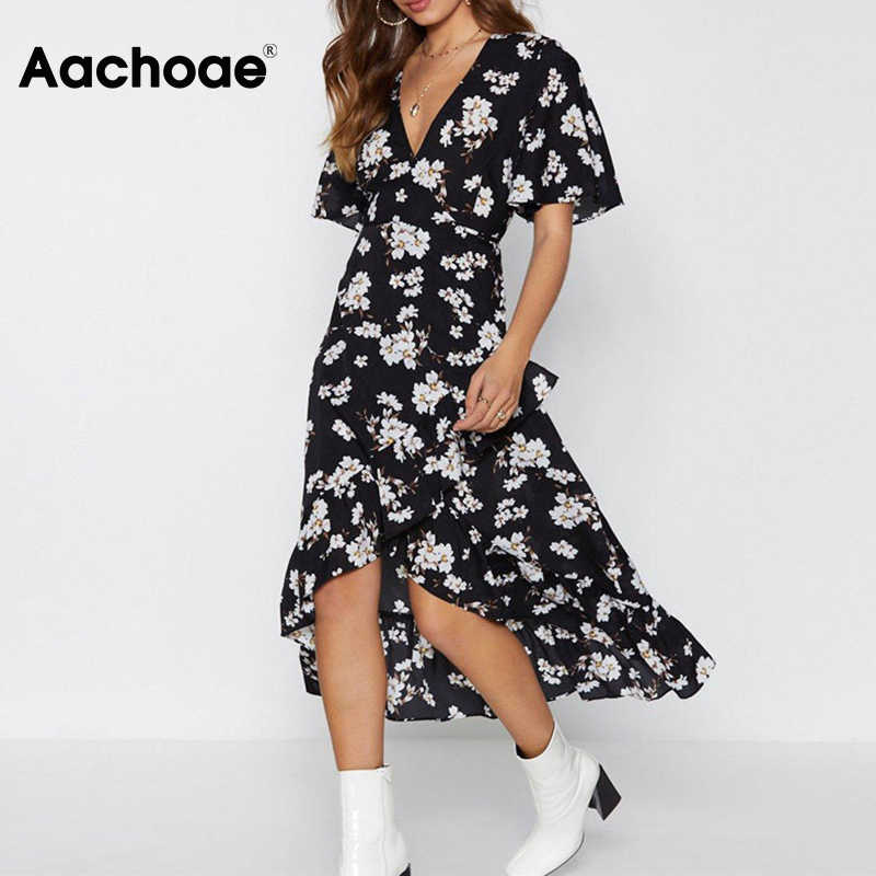 Aachoae Hoa Thanh Lịch In Áo Dài 2020 Phụ Nữ Phong Cách Boho Đi Biển Thời Trang Xù Cổ V Sundress Vestidos De Fiesta