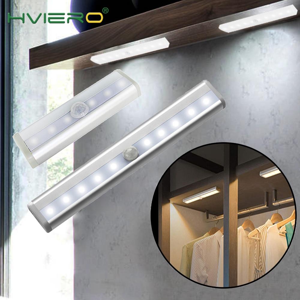 6/10 LED PIR LED Motion Sensor Light Cupboard Wardrobe Bed Lamp LED Under Cabinet Night Light For Closet Stairs Kitchen Corridor
