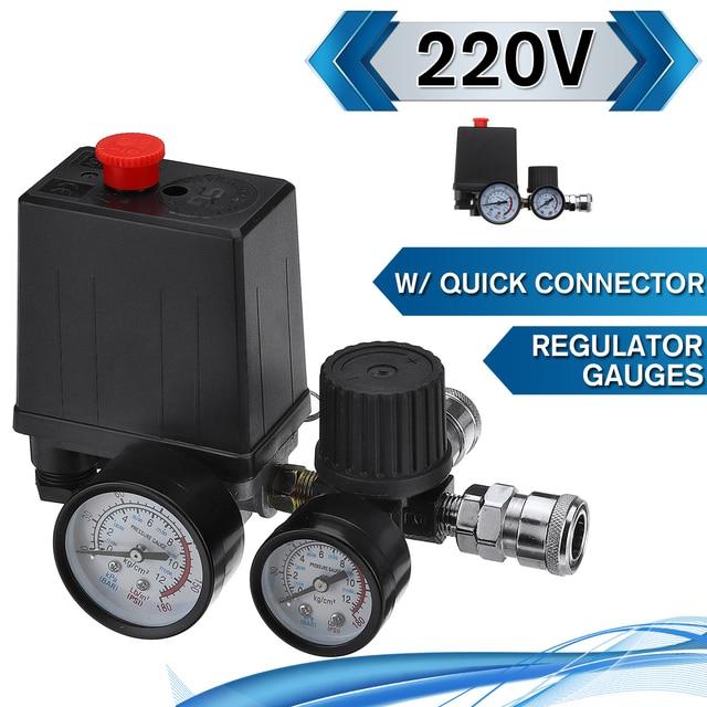 Commutateur de contrôle de pression de pompe de compresseur dair 4 ports 220V/380V régulateur de décharge de collecteur 30 120PSI soupape de commande avec jauge
