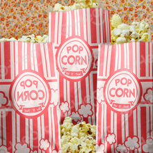 100pcs Popcorn Bags White & Red Striped Paper Cookie Candy Bag for Movie Theater Party christmas bag Carnival Wedding Birthday