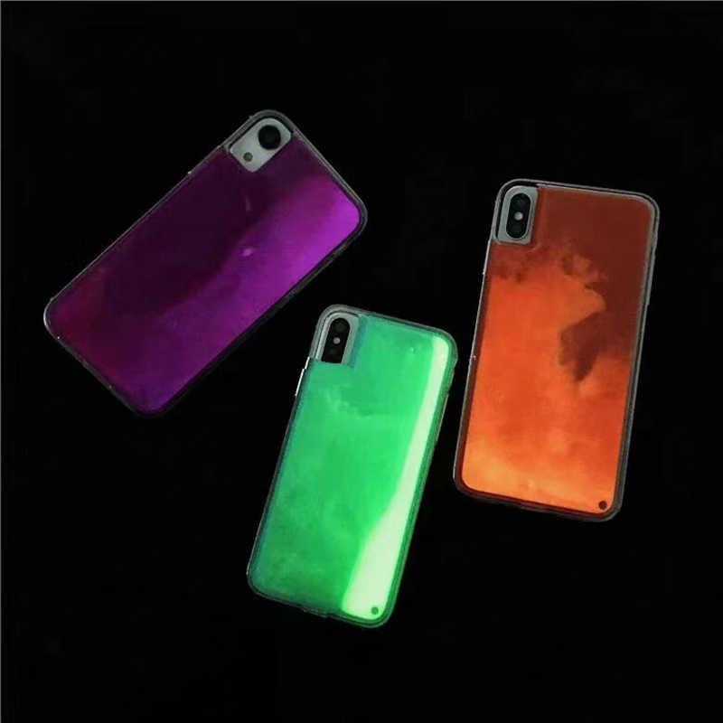 Coque de téléphone portable avec sable néon lumineux pour iPhone, compatible modèles XR, XS max, X, 6, 7, 8 plus, brille dans la nuit, liquide ...
