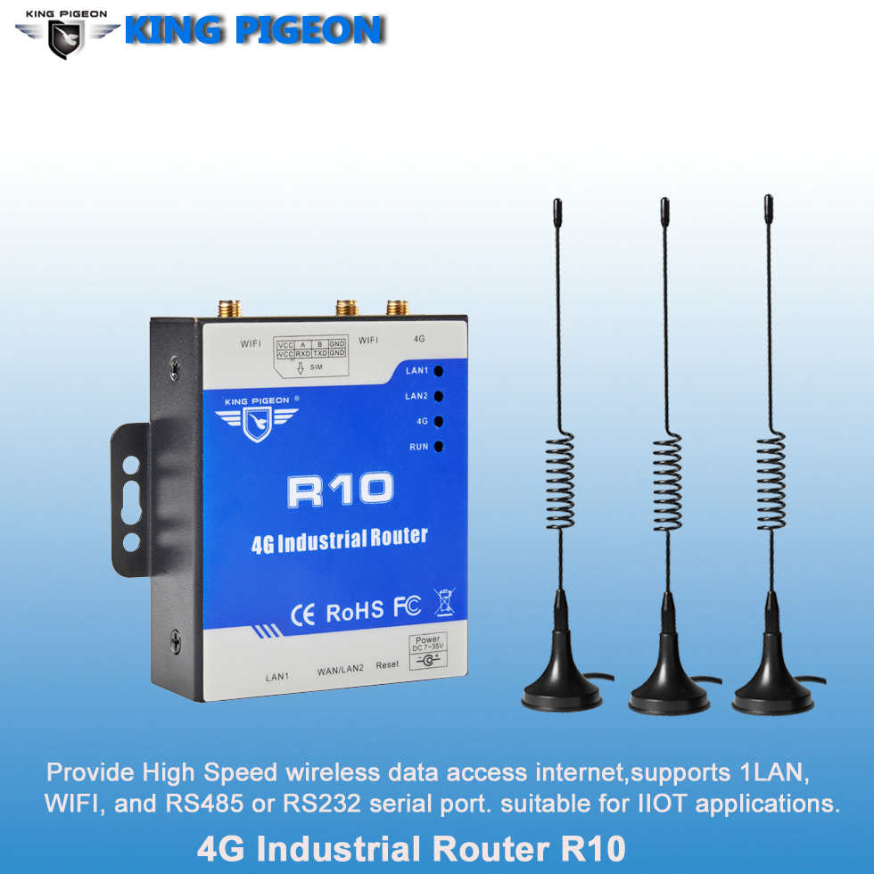 Industrial 4G Router Wireless IoT Gateway (2LAN 1WAN 1RS485) Supports RS232/RS485 To 4G Lte Data Transmission And WIFI 802.11b
