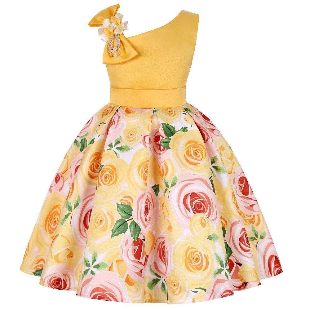 Summer Dress Kids Clothes Girls Rose Wedding Dress For Girls Print Party Princess Dresses Children Clothing vestidos 10 12 Year 2