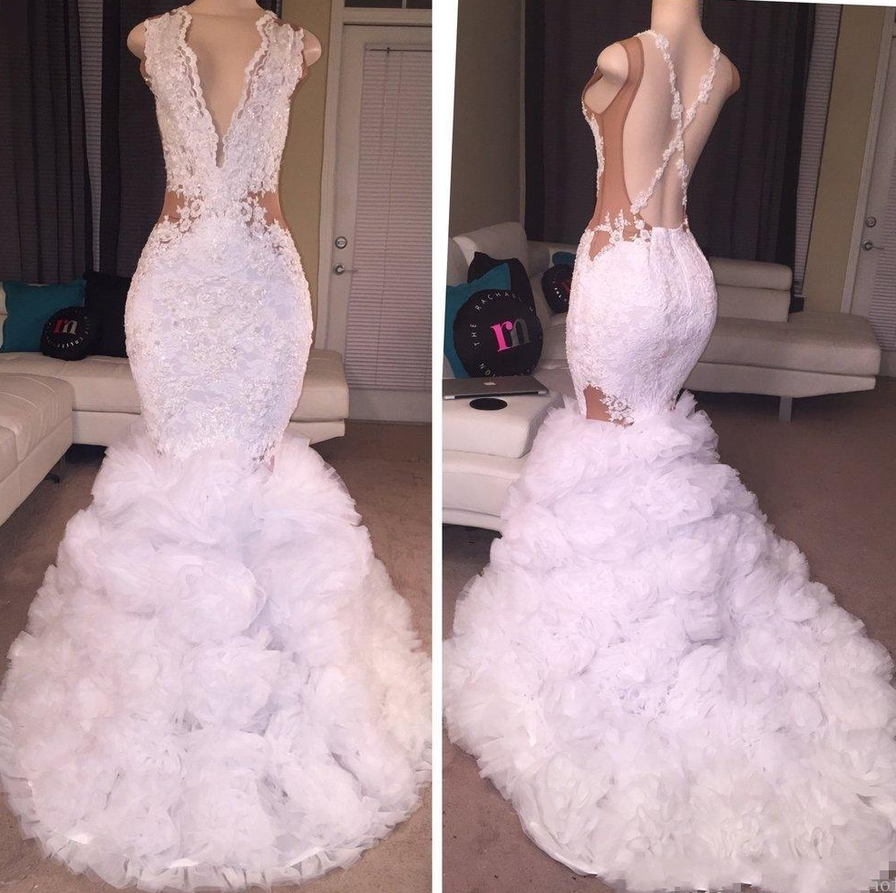 New Lace Mermaid Prom Dresses 2020 Plunging V Neck Puffy Skirt Sexy Criss Cross Backless Long Train Party Evening Gowns