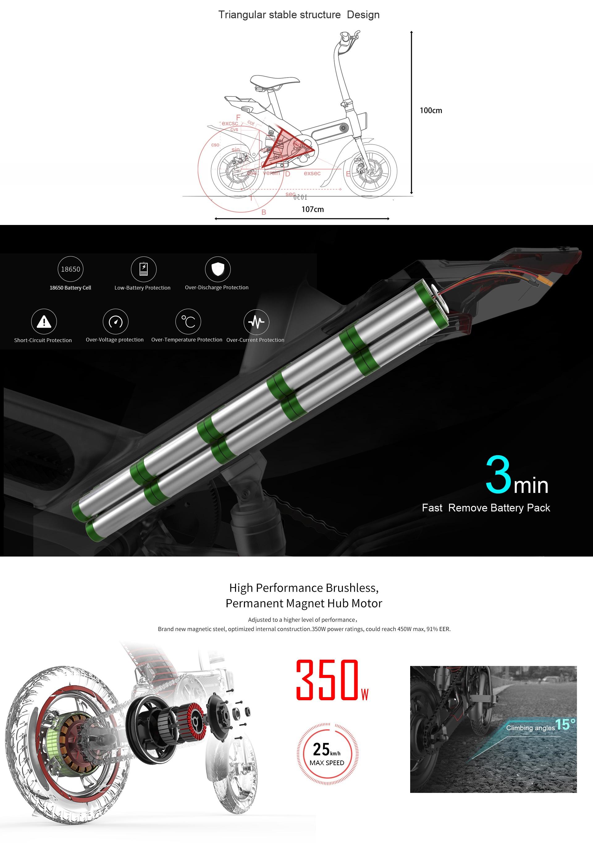Vélo assistance Electrique Y-one vélo électrique pliant 36V 10Ah batterie 14 pouces avec 3 modes de conduite EU PLUG Blanc