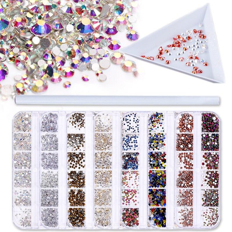 1 Set Multi Size Glass Nail Rhinestones Mixed Colors Flat-back AB Crystal Strass 3D Charm Gems DIY Nail Art Decorations