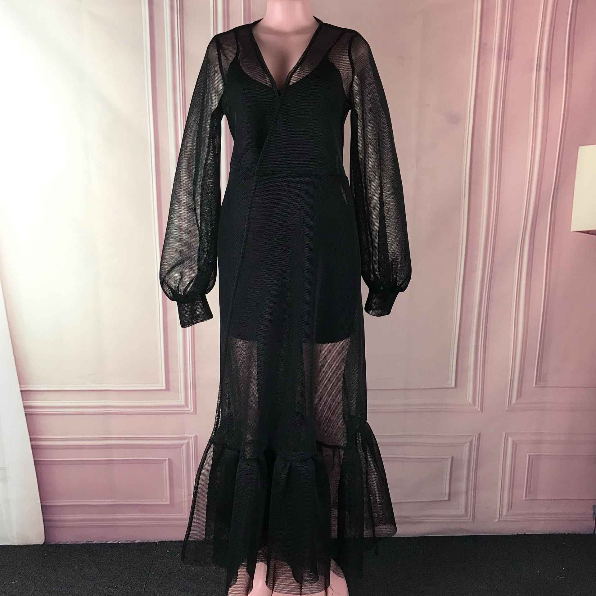 נשים רשת שחור לראות דרך מקסי שמלה סקסי פנס ארוך שרוול קו רצפת אורך ערב המפלגה ראפלס שמלות ארוך vestidos