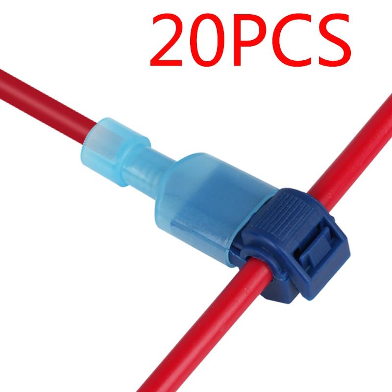 20Pcs T-Tap Wire Connectors Quick Electrical Cable Connectors Snap Splice Lock Wire Terminals Crimp Hand Tool Set