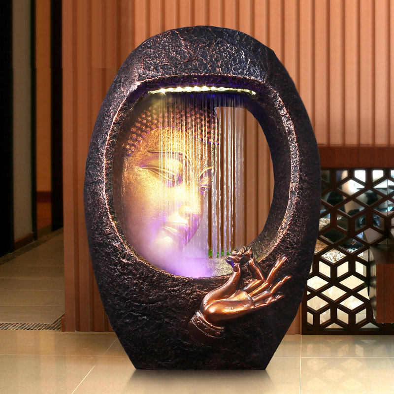 Buddha <font><b>Water</b></font> Ornaments Living Room Floor <font><b>Fountain</b></font> Humidifier Office Zen Feng Shui Fortune Waterscape <font><b>Home</b></font> <font><b>decor</b></font> <font><b>Decorations</b></font> image
