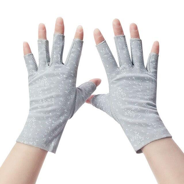 Women's Cotton Summer Gloves Fingerless Half Finger Anti-Skid Sun Protection Printing Thin Dot Short Driving Gloves 2