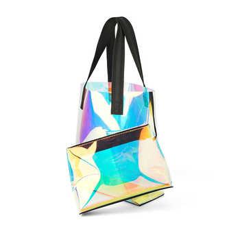 2019 Spring and Summer New Transparent Rainbow Shoulder Bag Tote Large Capacity Bag
