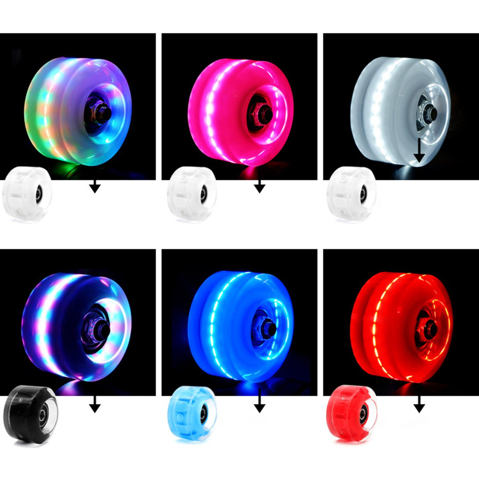 4pcs LED Double-row Roller Skates Luminous Wheel Roller Skates Flashing Wheels for Inline Skates for Adults Kids Roller Wheels