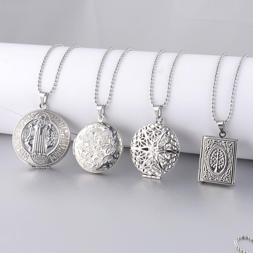 2 Pcs Round Three Frame Silver-Plated Locket Necklace Pendant Silver Plated