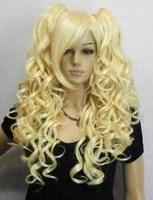 Jewelry Wig fashion blonde long curly cosplay full wig +two pigtails Free Shipping(China)
