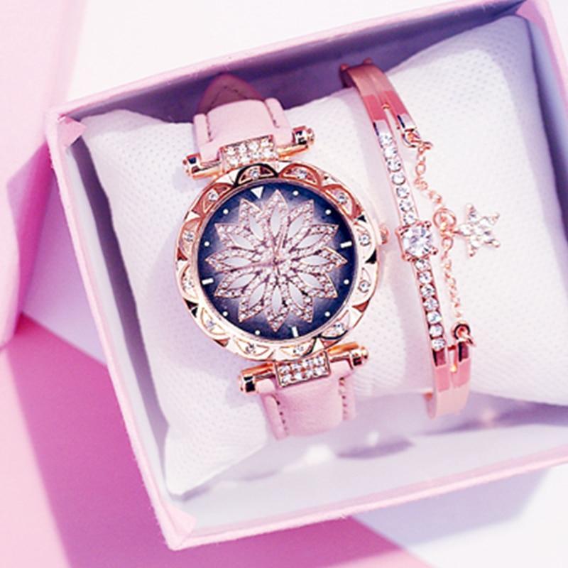 Frauen Starry Sky Uhr Luxus Rose Gold Diamant Uhren Damen Casual Leder Band Quarz Armbanduhr Weibliche Uhr zegarek damski