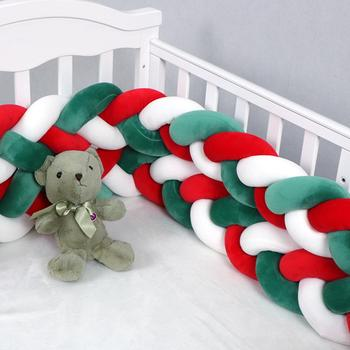 Christmas Baby Bed Crib Bumper Cotton Christmas Anti-collision Knotted Fence 4M Long Baby Crib Bumper Knotted Braided Bumper