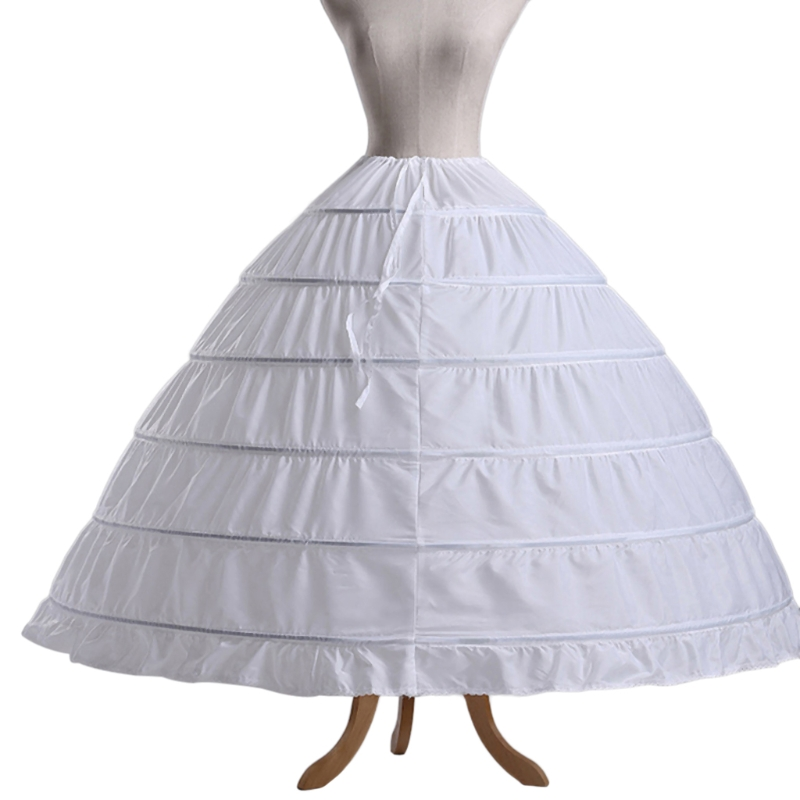 6 Hoops Petticoats Bustle Ball Gown Wedding Dress Underskirt Bridal Crinolines Q0KE