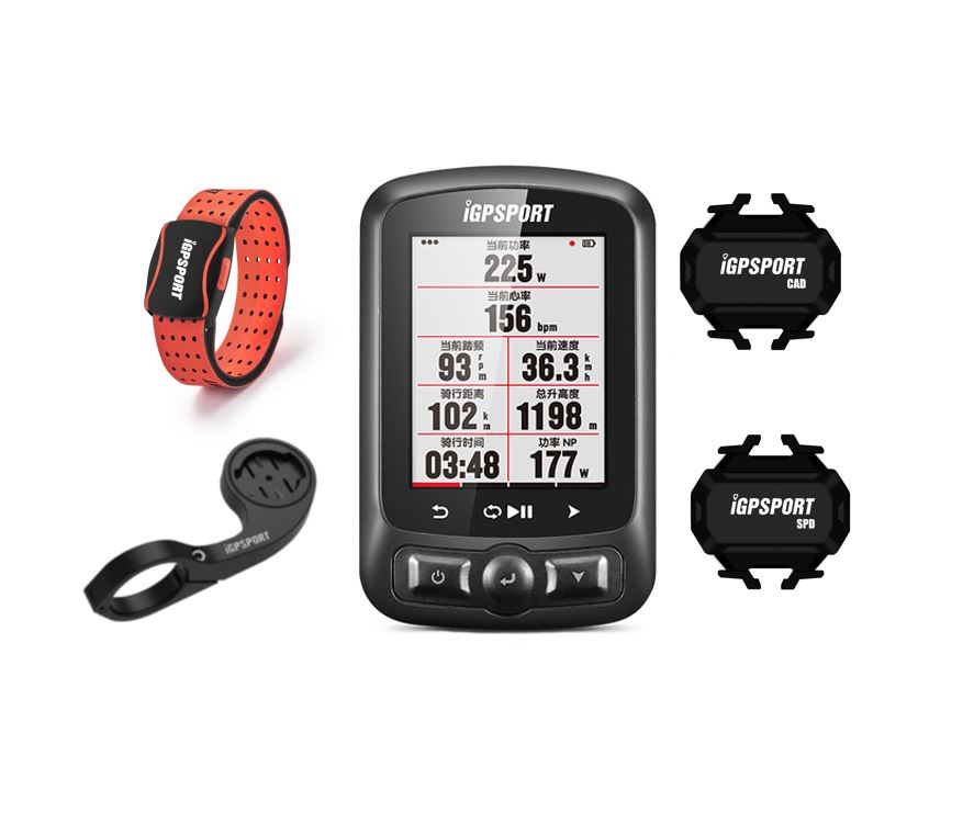 HR60 with IGPSPORT IGS 618 Bike Computer GPS Bluetooth ANT+Bicycle Computer   -