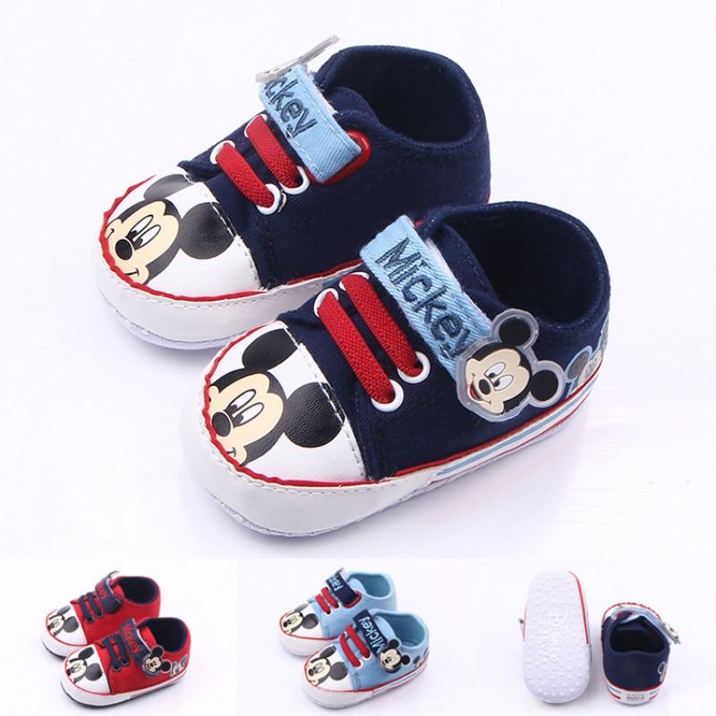 Классические парусиновые туфли для новорожденных, обувь для начинающих ходить мальчиков и девочек, мягкая нескользящая подошва с Микки Мау...