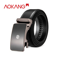 AOKANG 2019 Men Belts Genuine Leather Business Strap Adjustable Male Belts Metal Smooth Buckle Leather Belt Man style