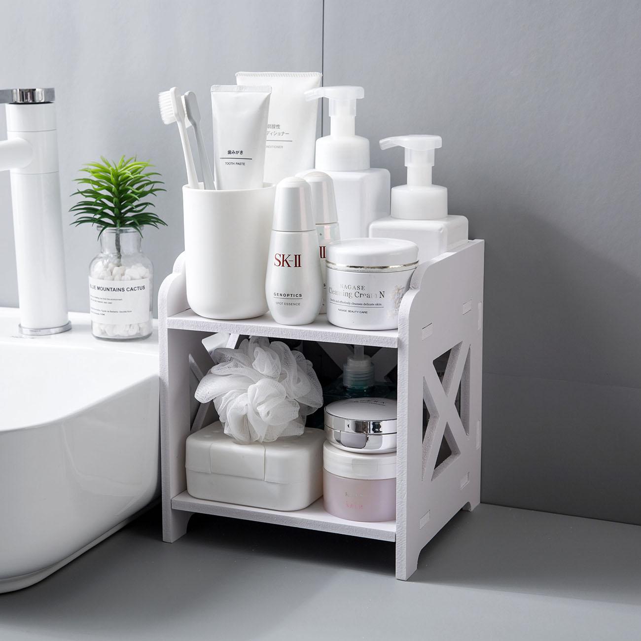 OTHERHOUSE Wood Desktop Shelf Bathroom Storage Rack Shelves Makeup Organizer Table Sundries Holder Kitchen Spice Rack Organizer