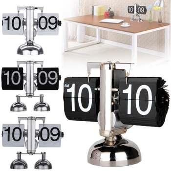 Cyfrowy automatyczny zegar z klapką Retro Vintage Style dół metalowa pojedyncza podwójna podstawka na stół zegar do dekoracji domu tanie i dobre opinie Cymii Geometryczne Zewnętrznego zasilania Kreatywny Strona turning DIGITAL Antique style