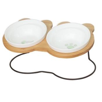 Nuovo High-end Pet Ciotola di Bambù Mensola In Ceramica di Alimentazione e Bere Ciotole per Cani e Gatti Pet Feeder Accessori 1