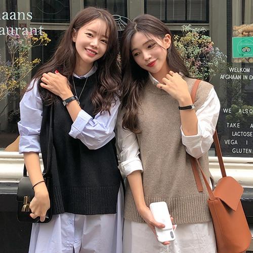2019 Autumn Beige Round Neck Sleeveless Knitting Vest Korean Fashion Sleeveless Sweaters Gray Color Waistcoat 4