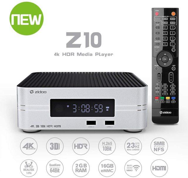 Zidoo Z10 4K Media Player אנדרואיד 7.1 חכם הטלוויזיה Box 2G 16G DDR ממיר 10Bit HDR כפול WiFi USB 3.0 BT 4.0 עם מתנה חינם
