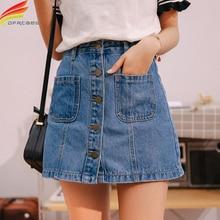 Женская джинсовая мини юбка, синяя трапециевидная юбка из денима с высокой талией и карманами на одной пуговице, лето 2020
