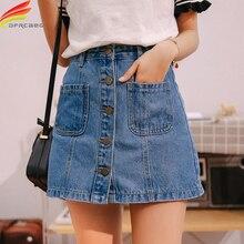 Jupe Jean taille haute pour femmes, Mini jupe ligne a, avec poches à boutons uniques, bleue, nouvelle collection été 2020