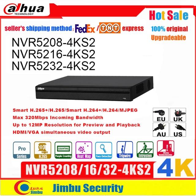 Dahua NVR 4K NVR5208 4KS2 NVR5216 4KS2 NVR5232 4KS2  up to 12Mp H.265  8/16/32Channel  Face Detection Tripwire Intrusion DVR IVS