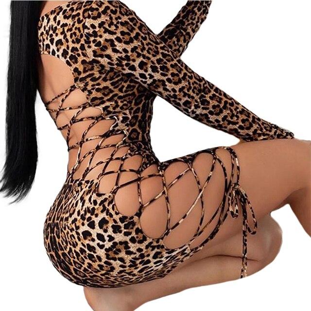 Meihuida Women Sexy Leopard Mini Dress Long Sleeve O-Neck Backless Skinny Stretch Short Dresses Night Club Sex Wear 4