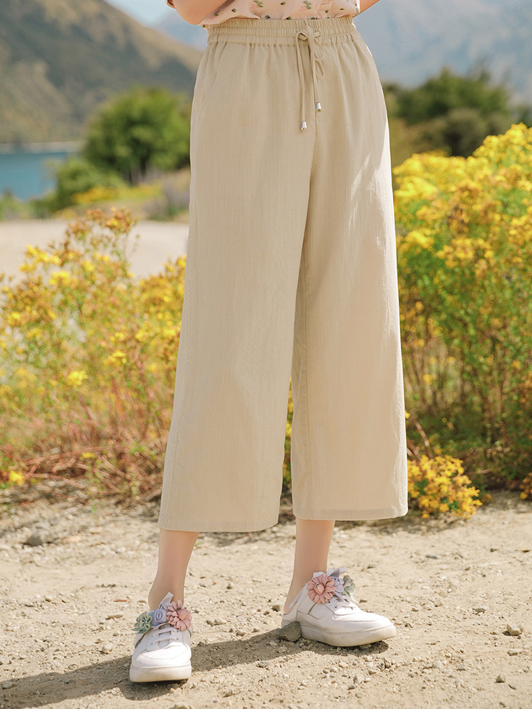 INMAN 2020 Summer New Arrival High Waist Retro Literary Personality All-match Leisure Loose Pants