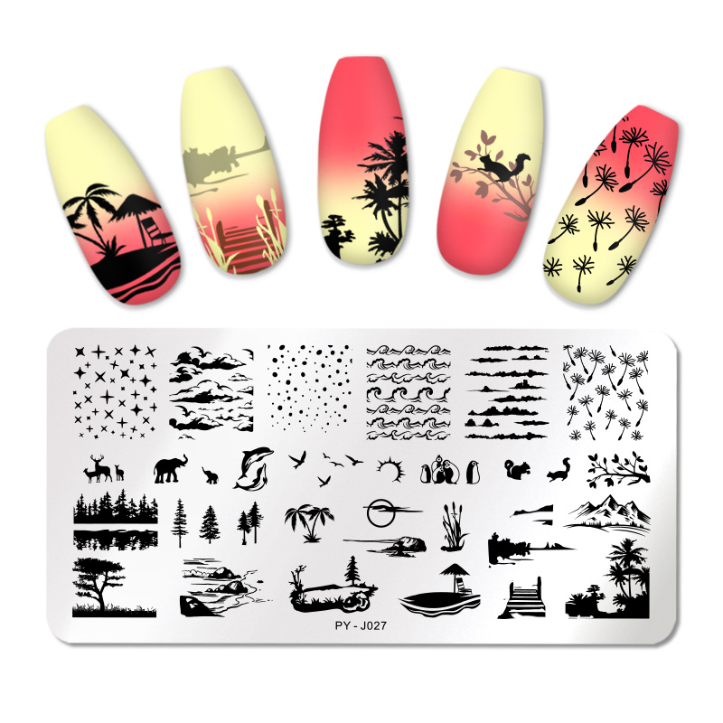 PICT You Nail Stamping Plates Nature Nail Art Image Plate Pictures Leaf Design Stencil Stainless Steel Nail Stamp Tools
