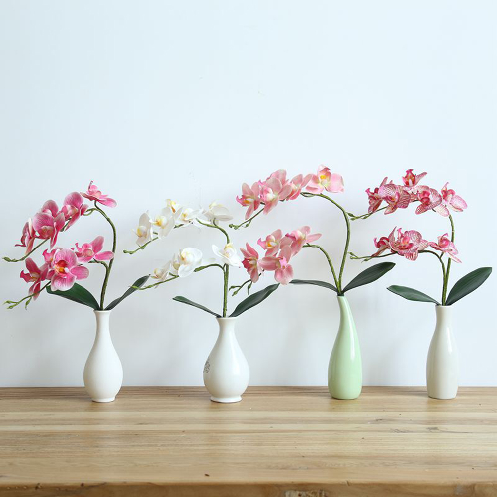 Latex Fake Flower Phalaenopsis Orchid Flowers Real Touch Artificial Butterfly Orchids Stem Plant Centerpiece Silicone Flowers 4