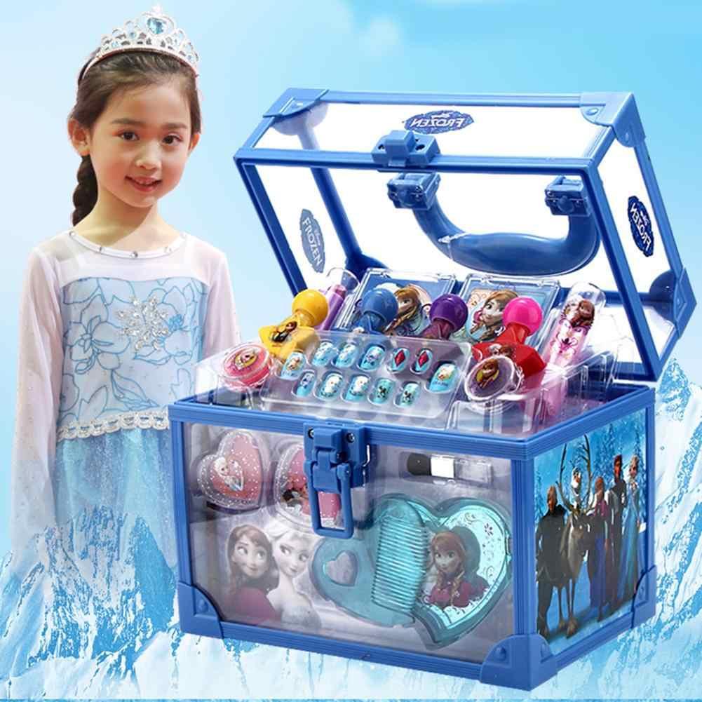 Disney kızlar oyuncaklar yıkanabilir kozmetik makyaj seti buz romantizm prenses makyaj çantası doğum günü hediyesi oyun evi oyuncak çocuklar makyaj