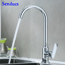 Kitchen Faucet Senducs SUS304 Stainless Steel Kitchen Sink Faucet Quality Polished Chrome Kitchen Mixer Tap Hot Cold Water Tap(China)
