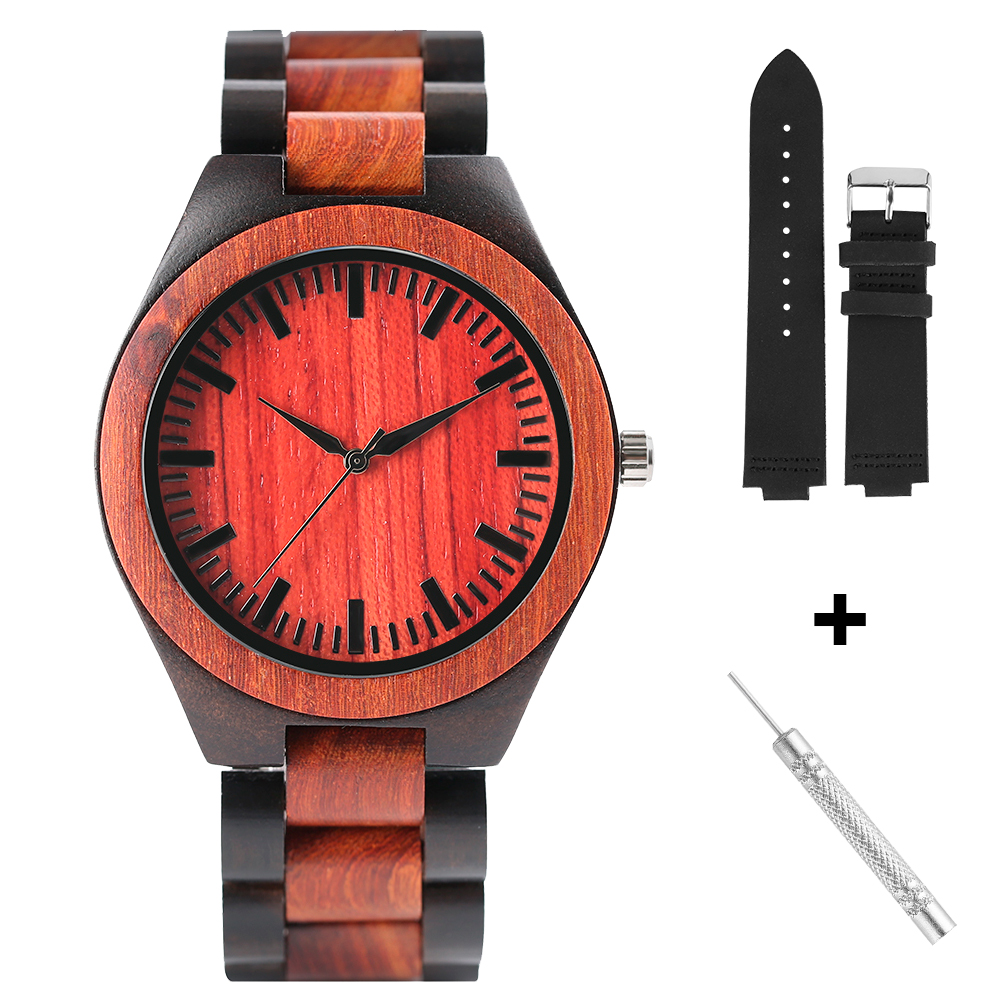 Full Black Rosewood Classic Quartz Wooden Watches Quick Release Genuine Leather Replacement Wristwatch Band For Women Men